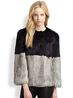 Cut 25 by Yigal Azrouel - Colorblock Rabbit Fur Coat