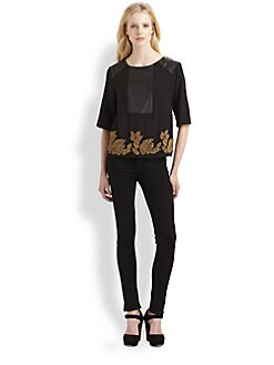 Suno - Beaded Leather-Trim Top