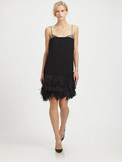By Malene Birger - Crepe & Ostrich Feather Dress