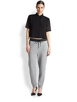 T by Alexander Wang - Stretch Silk Cropped Frayed Shirt