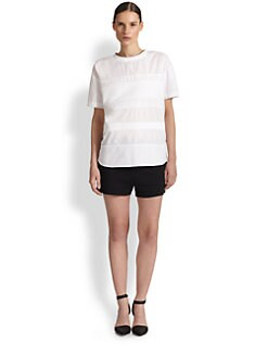 T by Alexander Wang - Cotton Voile & Poplin Striped Tee