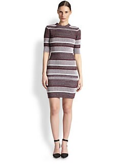 T by Alexander Wang - Striped Ribbed Cotton Sweaterdress