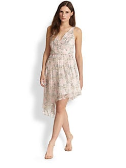Elizabeth and James - Manette Silk Floral-Print Asymmetrical Dress