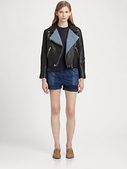 Acne - Rita Denim-Trim Leather Jacket