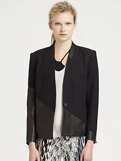 Helmut Lang - Warped Leather-Trim Jacket