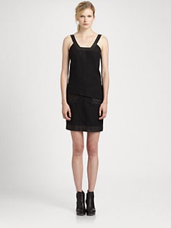 Helmut Lang - Warped Leather-Trim Dress