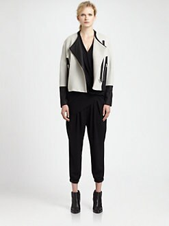 Helmut Lang - Leather-Trim Jacquard Jacket