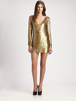 Haute Hippie - V-Neck Sequin Dress
