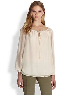 Haute Hippie - Split-Sleeve Silk Blouse