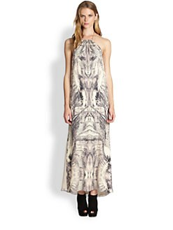 Haute Hippie - Printed Silk Halter Dress
