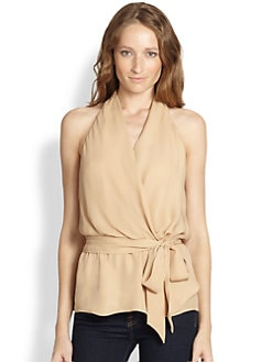 Haute Hippie - Silk Draped Wrap-Effect Halter Top