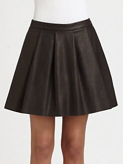 Thakoon Addition - Pleated Leather Skirt