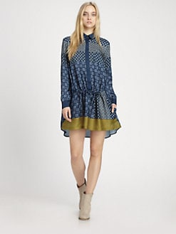 Thakoon Addition - Gathered Drop-Waist Shirtdress
