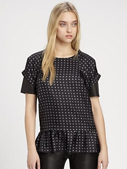 Thakoon Addition - Silk Leather-Sleeve Peplum Top
