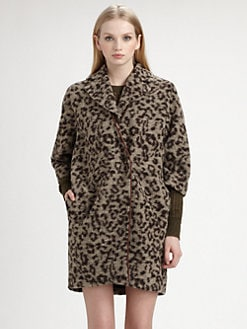 Thakoon Addition - Leopard-Print Fleece Coat