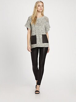 Thakoon Addition - Slouchy Leather-Pocket Sweater