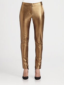 L'AGENCE - Metallic Leather Leggings