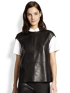 J Brand - Karo Leather Cap-Sleeve Top