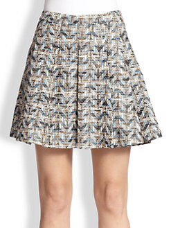10 Crosby Derek Lam - Patterned Woven Pleated Skirt