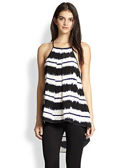 10 Crosby Derek Lam - Silk Striped Hi-Lo Tank