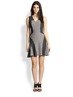 10 Crosby Derek Lam - Knit Tweed Paneled Fit-&-Flare Dress