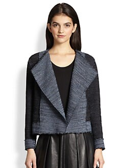 10 Crosby Derek Lam - Boxy Paneled Knit Tweed Jacket