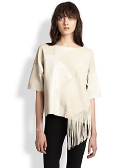 10 Crosby Derek Lam - Geometric Paneled Fringed Leather Top