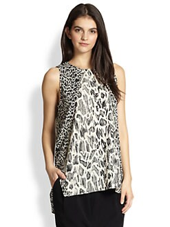 10 Crosby Derek Lam - Stretch Silk Mixed-Print Top