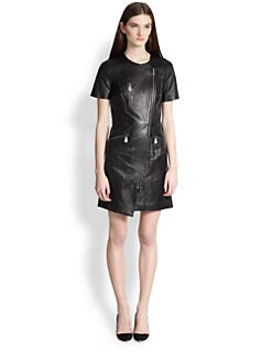 McQ Alexander McQueen - Tailored Leather Zip Dress