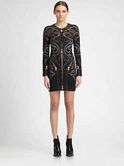 McQ Alexander McQueen - Zipper-Print Interlock Dress