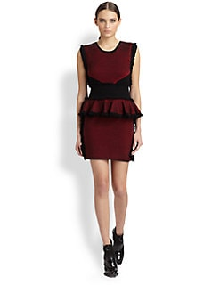 McQ Alexander McQueen - Fringed Tweed Peplum Dress