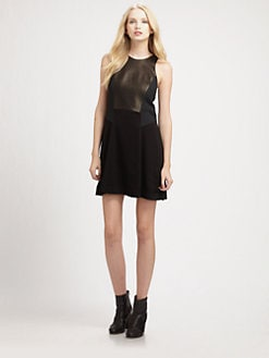 Rag & Bone - Adeline Leather-Trim Dress