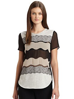 3.1 Phillip Lim - Lace, Silk and Knit Pieced Tee