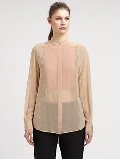 3.1 Phillip Lim - Lace-Inset Silk Chiffon Blouse