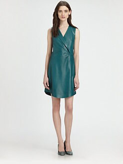 Carven - Leather Surplice Dress
