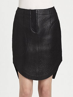 Carven - Grained Leather Skirt