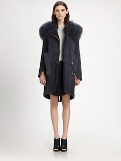 Carven - Fur-Collared Shearling Coat