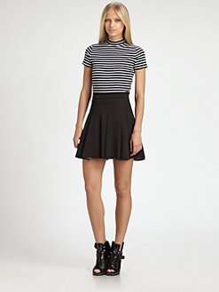 T by Alexander Wang - Striped Shrunken Tee