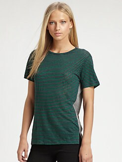 T by Alexander Wang - Striped Contrast Tee