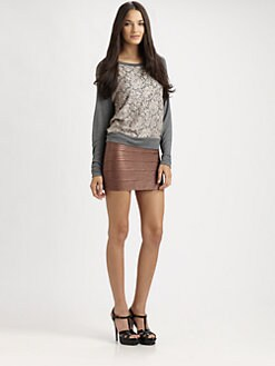 Haute Hippie - Lace-Trim SIlk Sweatshirt