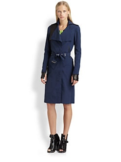 Cut 25 by Yigal Azrouel - Leather-Trim Trenchcoat