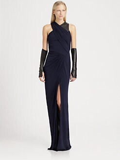 Cut 25 by Yigal Azrouel - Leather-Trim Jersey Gown