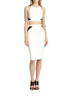 Elizabeth and James - Ava Cropped Mesh-Detail Top
