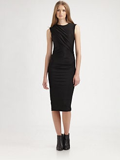 T by Alexander Wang - Pleated Sleeveless Knit Dress