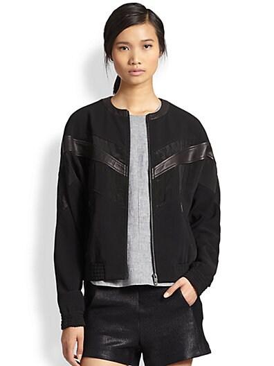 Franklin Leather-Trimmed Bomber Jacket