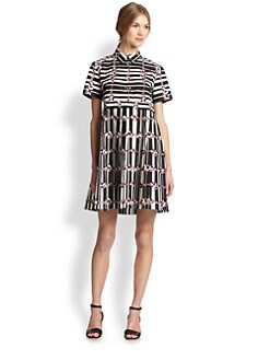 Suno - Printed Pleated Cotton Shirtdress
