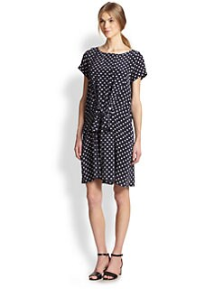 Suno - Silk Polka Dot Tied-Front Dress