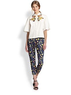 Suno - Fruit-Embroidered Boxy Cotton Shirt