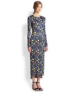 Suno - Fruit-Print Satin Midi Dress