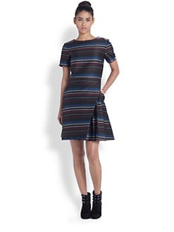 Suno - Paneled Skirt Striped Dress